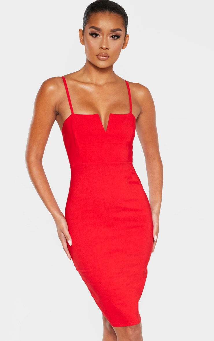 Red Woven V Detail Strappy Midi Dress 4