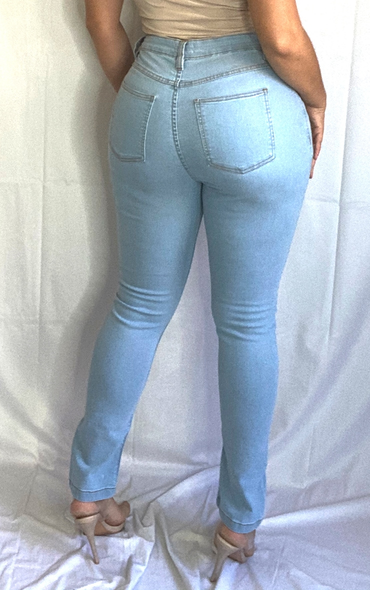 Plus Light Blue Wash Front Split Hem Skinny Jeans 3