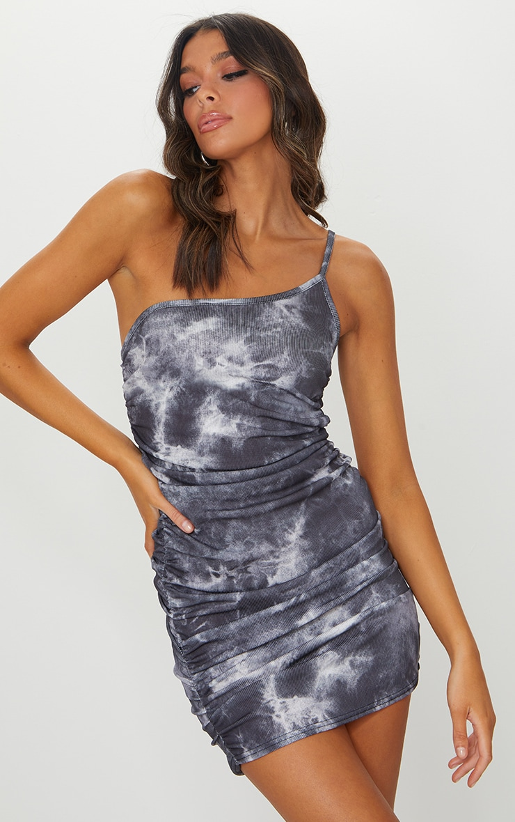 Black Tie Dye Ribbed One Shoulder Ruched Bodycon Dress 1