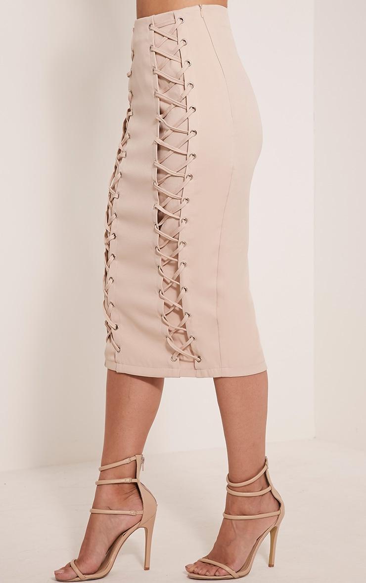 Haley Nude Lace Up Midi Skirt 4