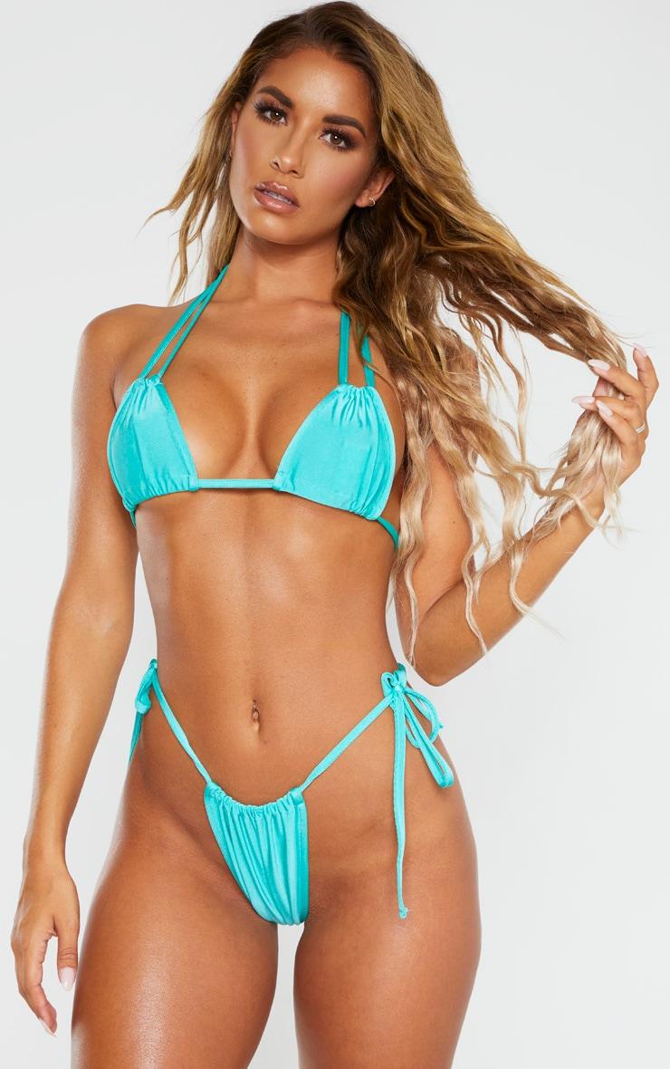 Turquoise Halterneck Mini Ruched Triangle Bikini Top 1