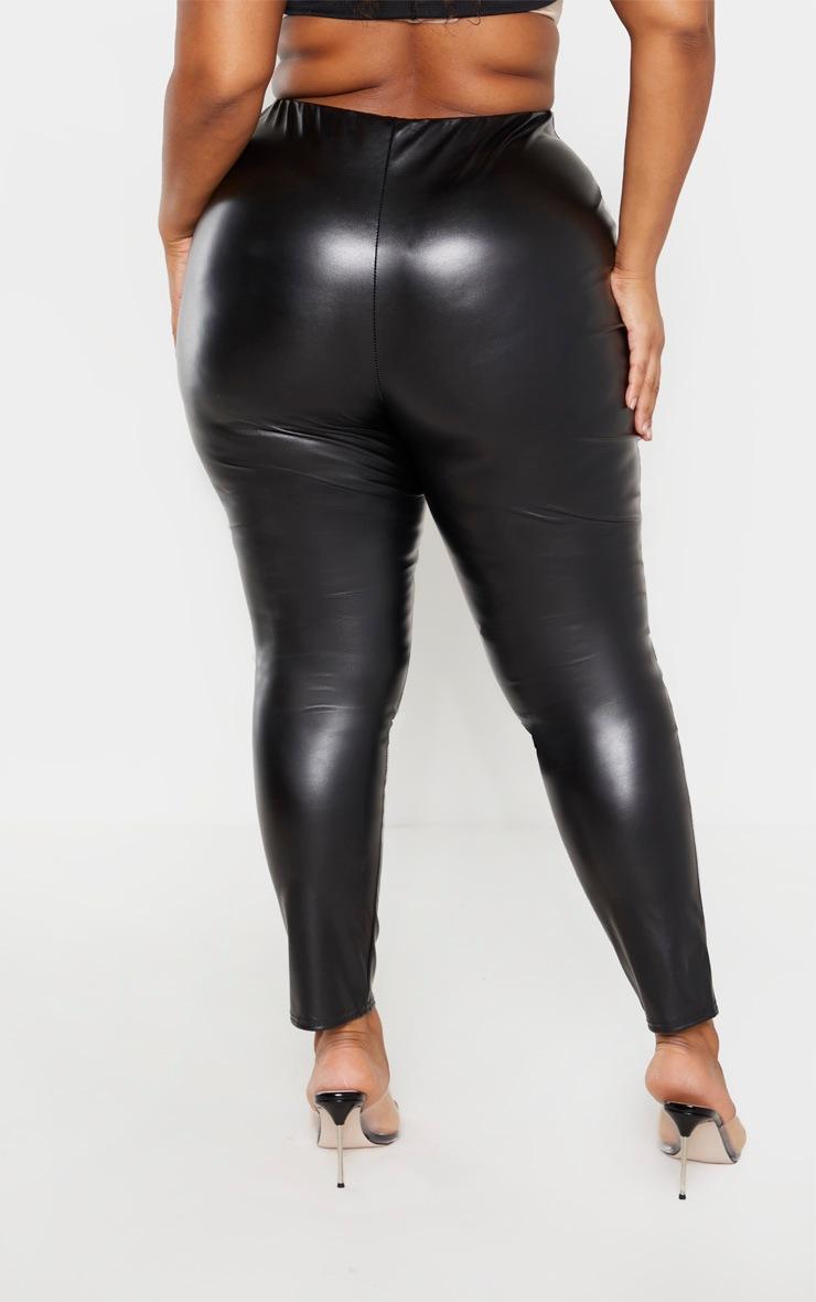 Plus Black PU Belt Detail Trousers  4