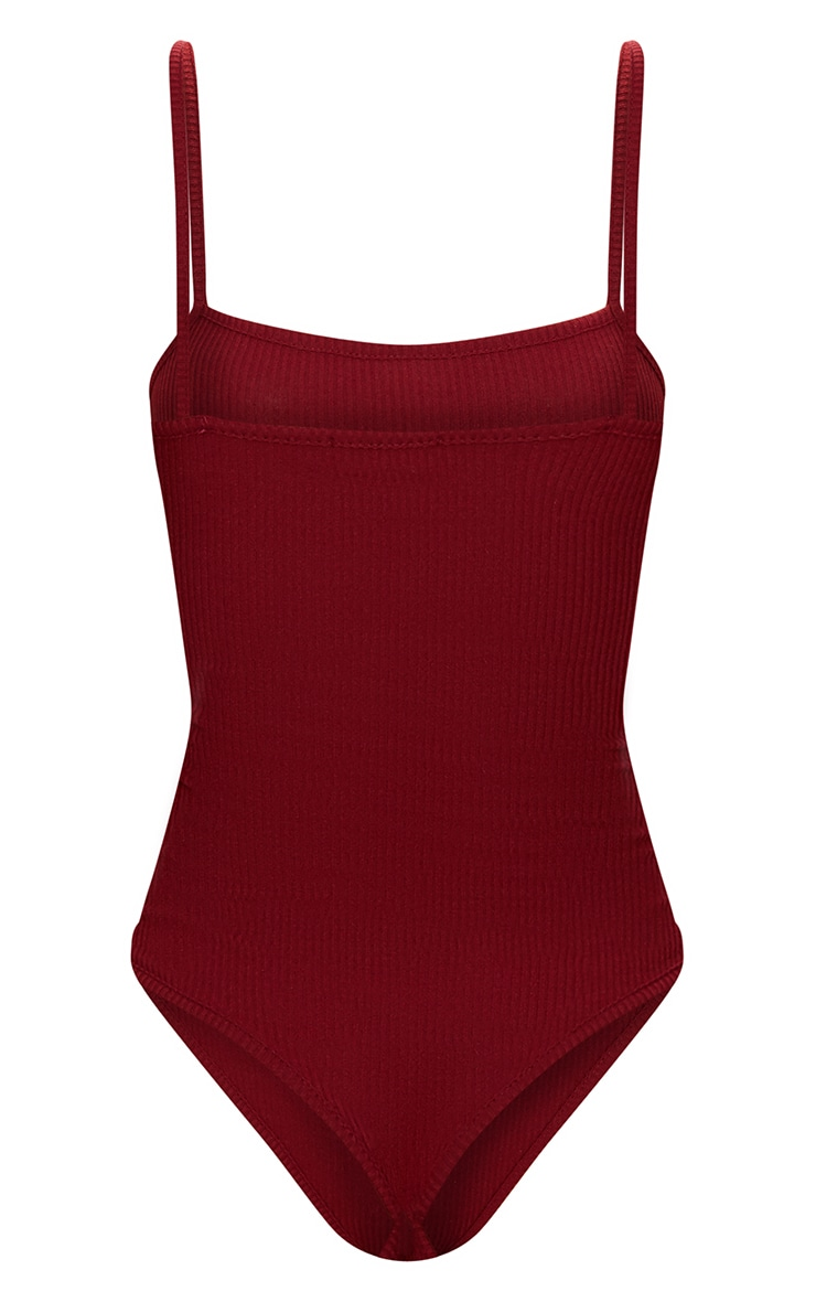 Burgundy Ribbed Square Neck Thong Bodysuit 4