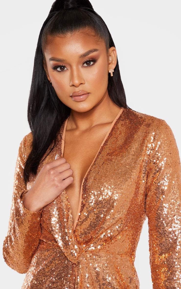 Bronze Sequin Twist Front Bodycon Dress 5