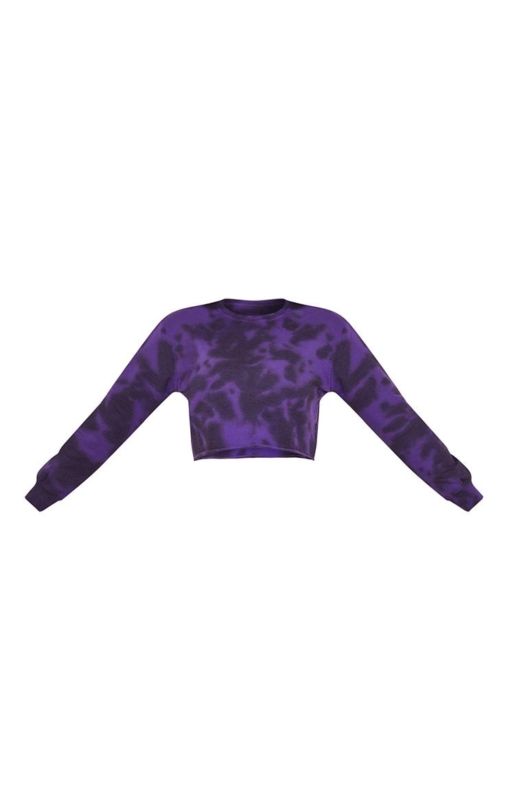 Tall Dark Purple Tie Dye Cropped Sweater 5