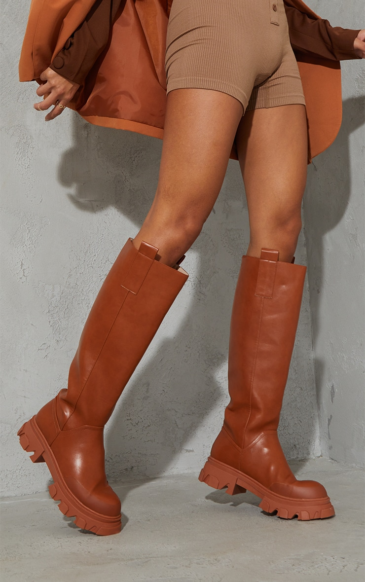 Toffee PU Round Toe Chunky Welly Knee Boots 2