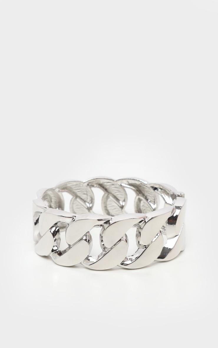 Silver Chunky Chain Cuff Bracelet 2
