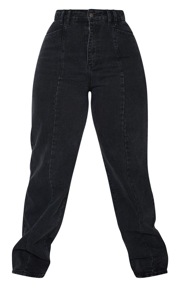 Plus Black Vintage Wash Seam Front Wide Leg Jeans 5