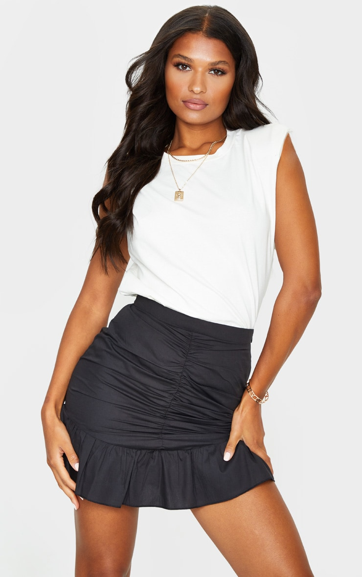 Black Woven Frill Hem Ruched Mini Skirt 1