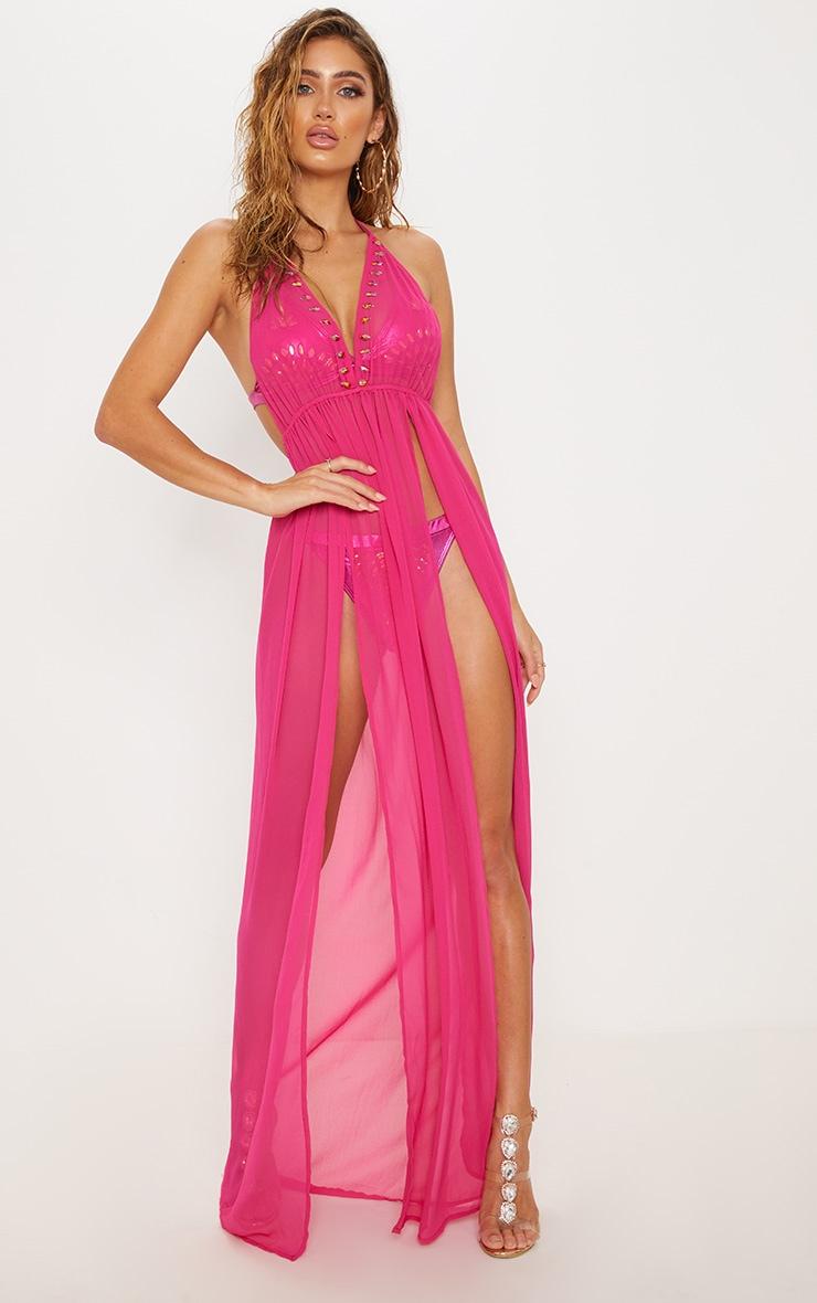 Premium Pink Halterneck Maxi Pool Party Dress