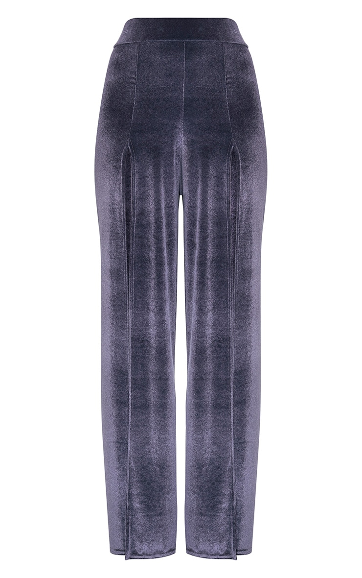 Kiley Grey Split Front Velvet Wide Leg Trousers 3