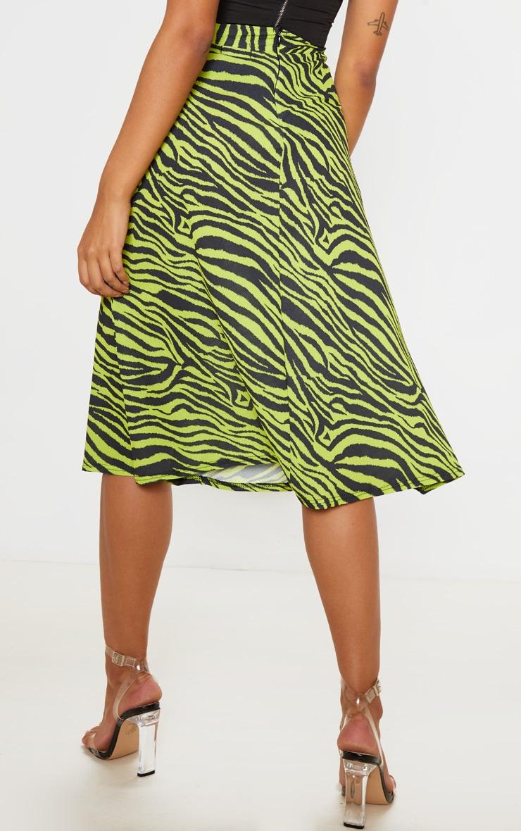 Neon Zebra Print Floaty Midi Skirt 4
