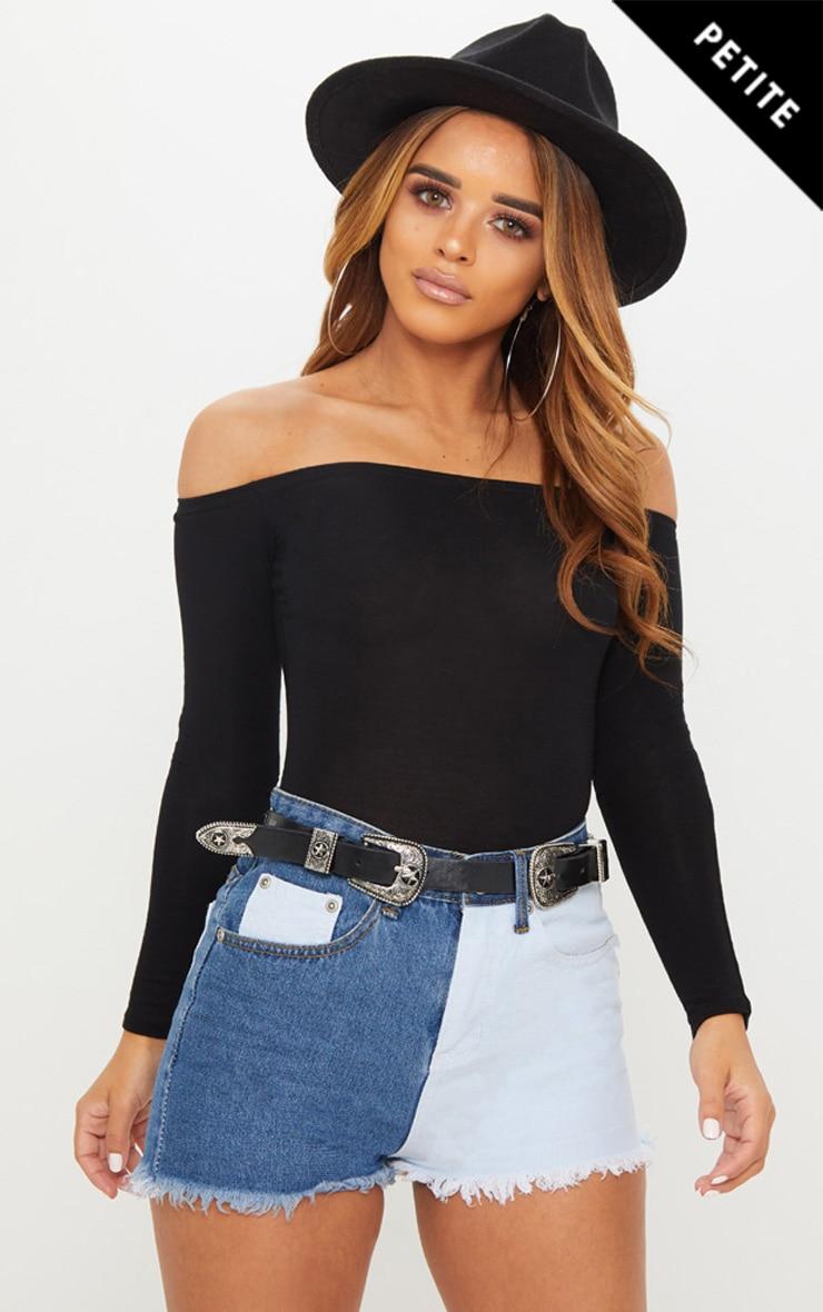 Petite Black Basic Bardot Bodysuit 1