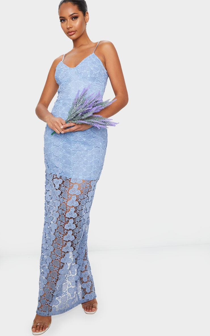 Dusty Blue Thick Lace Strappy Maxi Dress 1