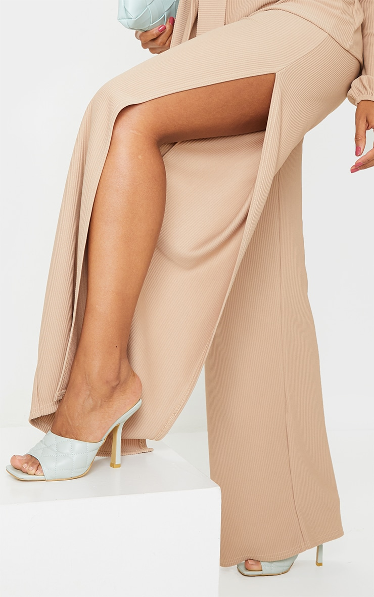 Taupe Wide Rib Split Side Trousers 4