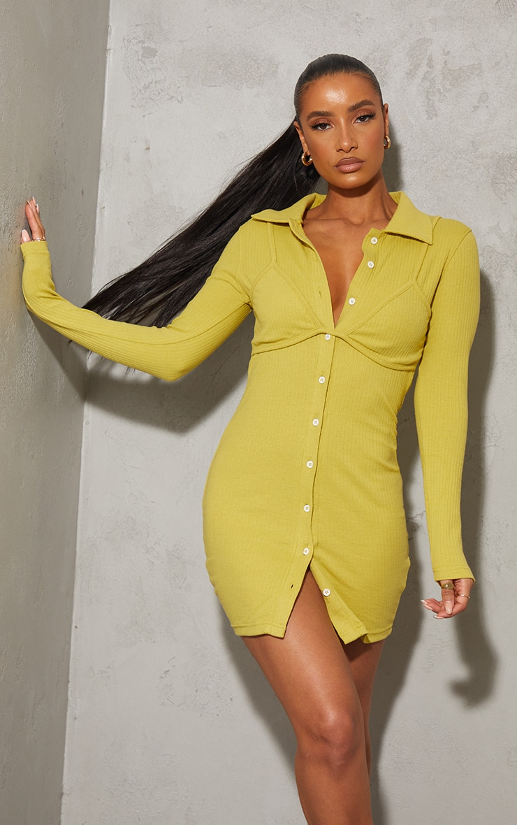 Chartreuse Bralet Overlay Button Down Rib Bodycon Dress 1