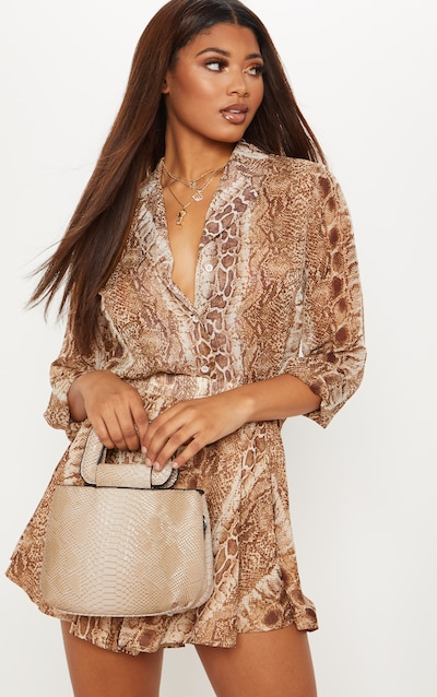9b5978fa Tall Brown Snake Print Button Detail Fitted Shirt PrettyLittleThing Sticker