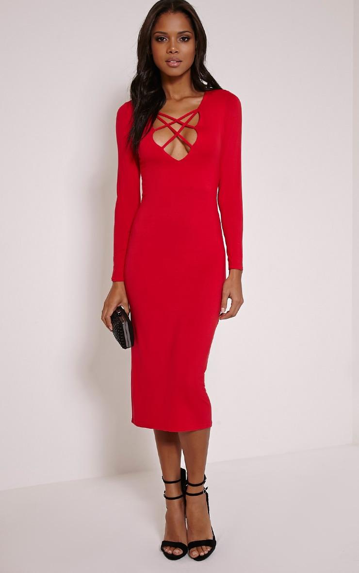 Thelma Red Lattice Front Long Sleeve Midi Dress 4