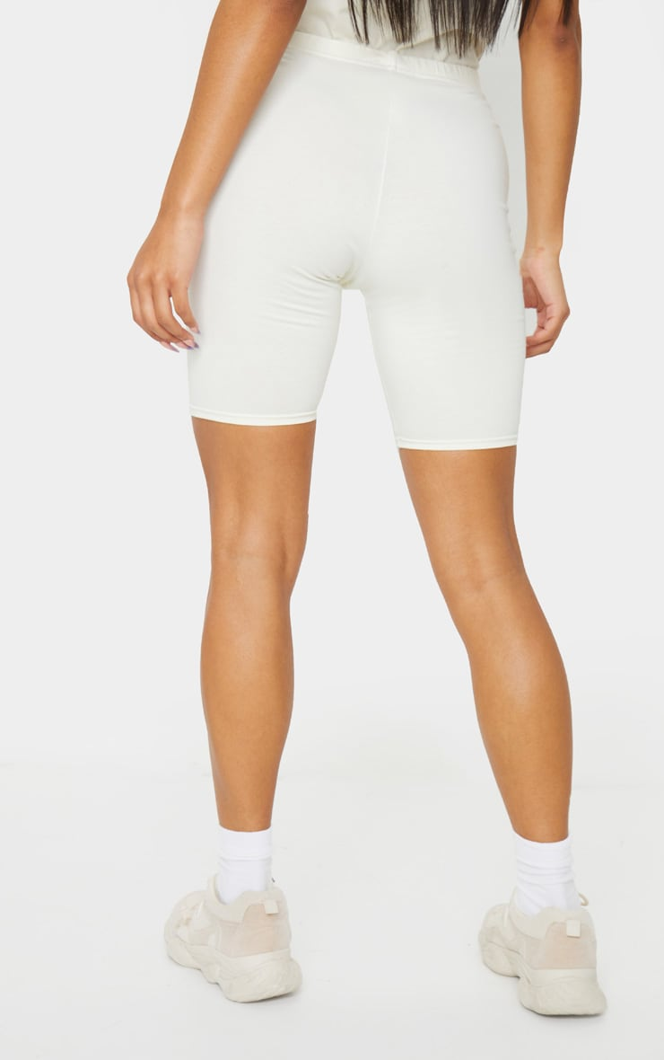 Cream Cotton Stretch Bike Shorts 3