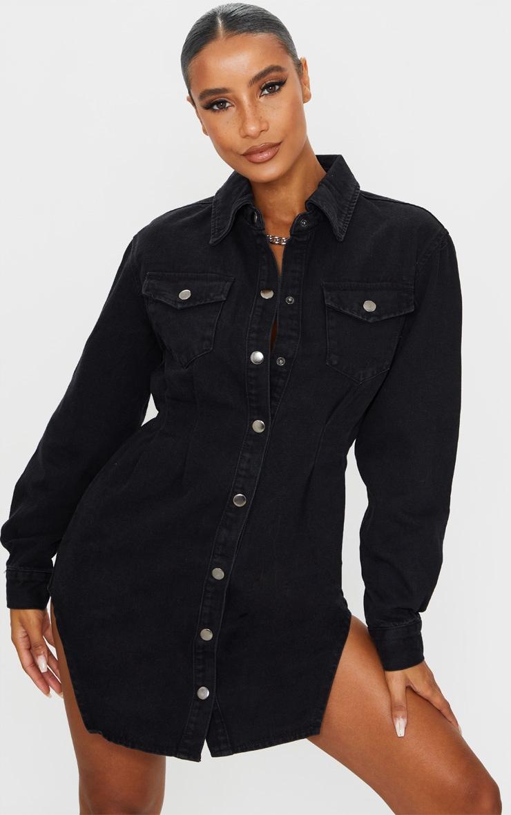 Washed Black Cinched Waist Long Sleeve Denim Dress 1