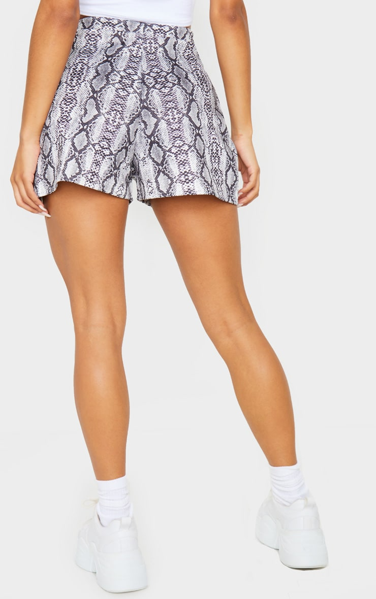 Grey Snake Print Pleat Front Floaty Shorts 3
