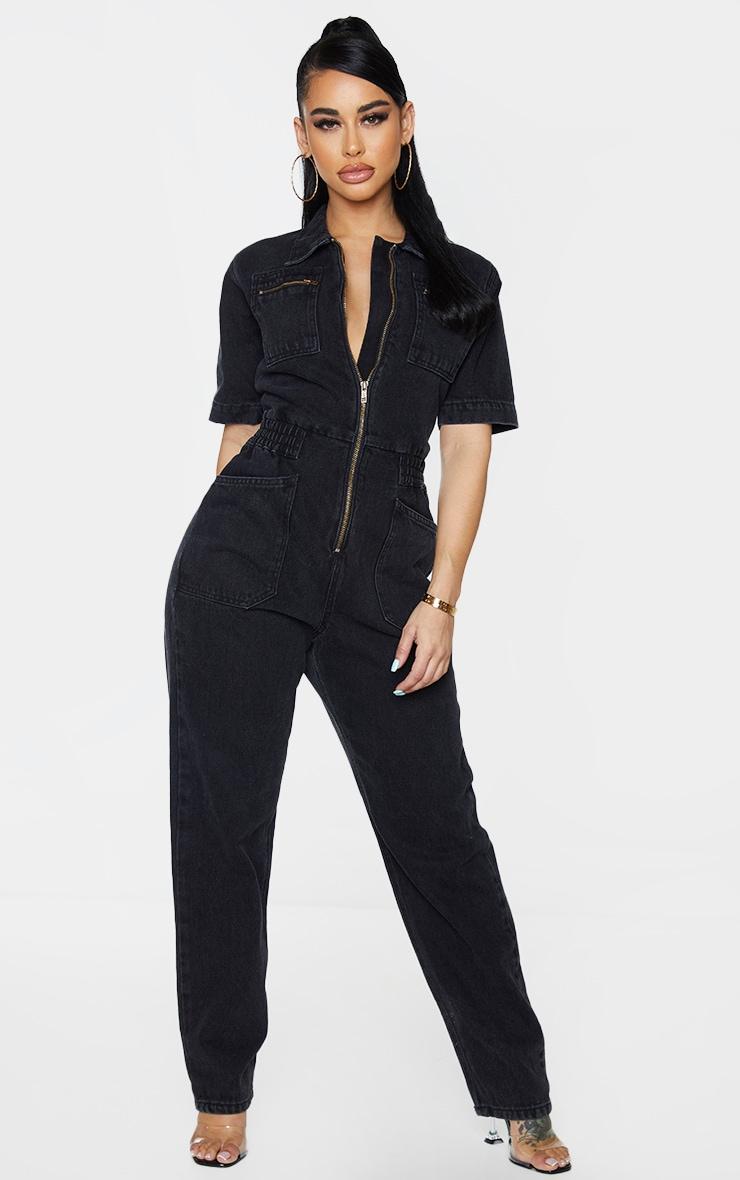 Shape - Combinaison en jean noir à manches courtes et poches 1