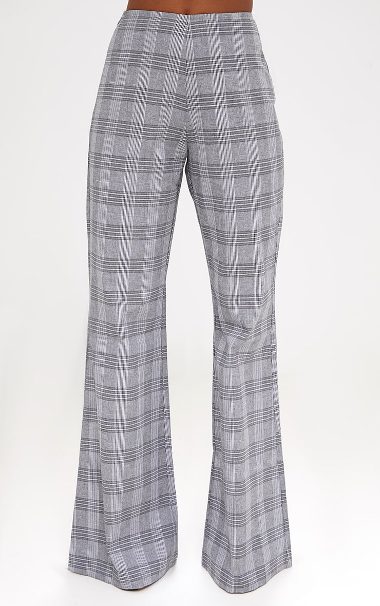 Grey Check Tailored Wide Leg Trousers 2