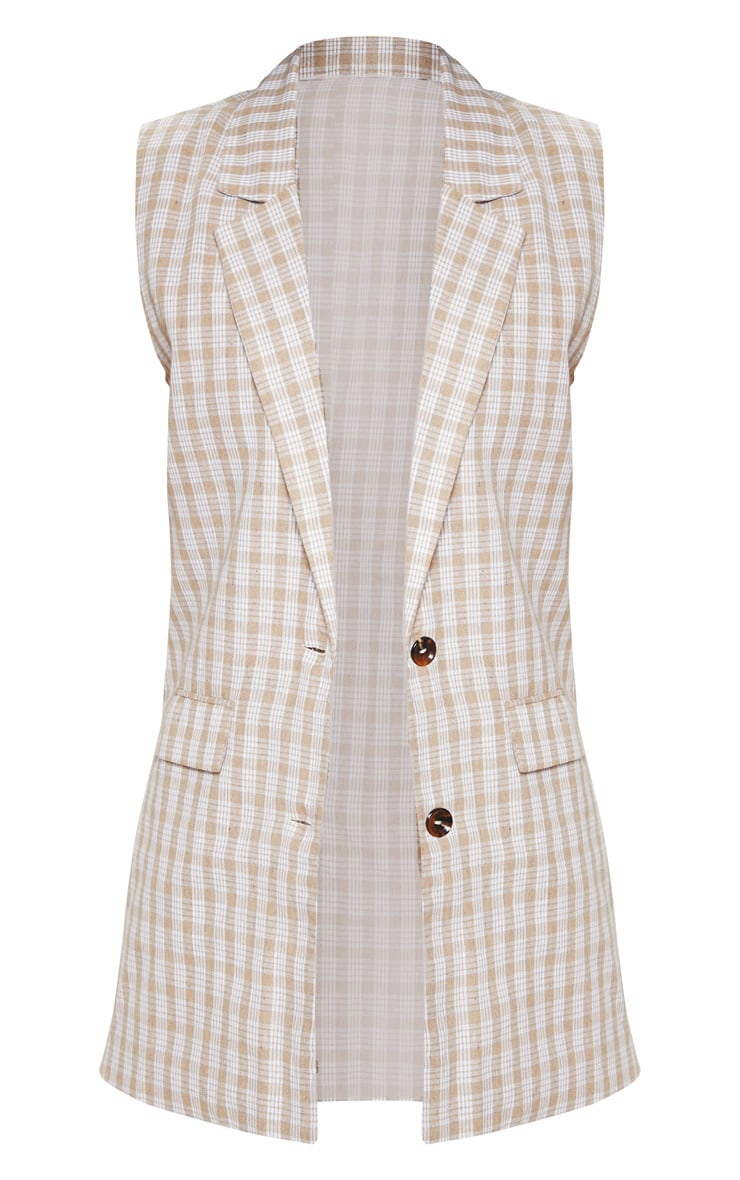Stone Checked Oversized Sleeveless Woven Blazer    3