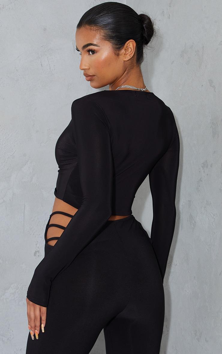 Black Second Skin Long Sleeve V Neck Crop Top  2