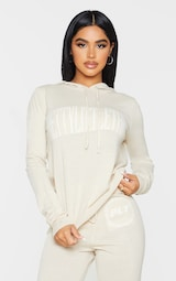 PRETTYLITTLETHING Petite Stone Knitted Hoodie 1