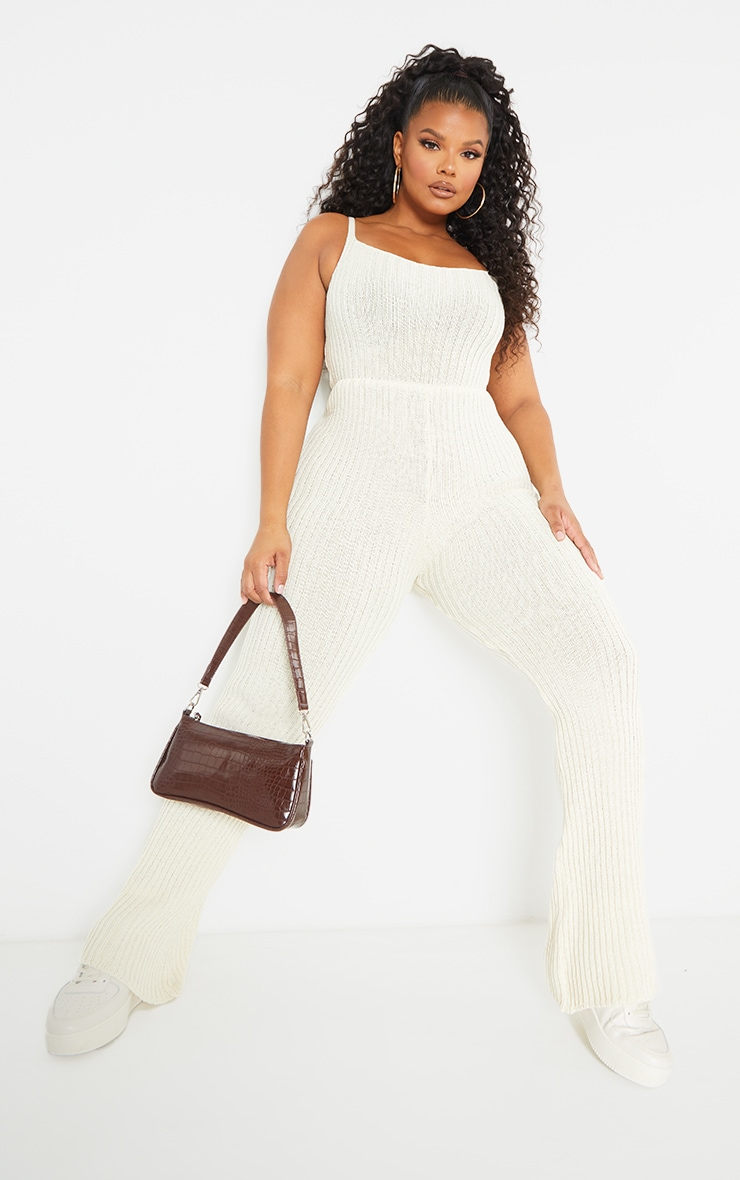 Plus Cream Strappy Knitted Flared Leg Jumpsuit 1