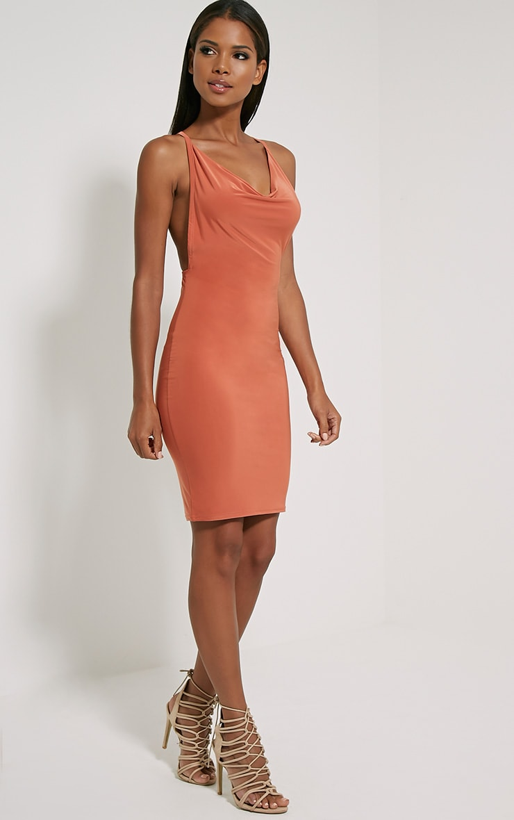 Orion Orange Slinky Cowl Neck Dress 3