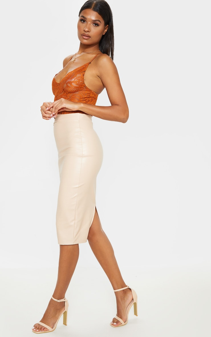 Eva Nude Faux Leather Panel Midi Skirt 5
