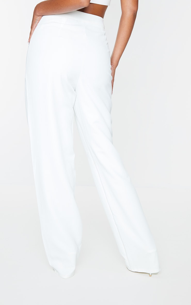White Woven High Waisted Straight Leg Trousers 3