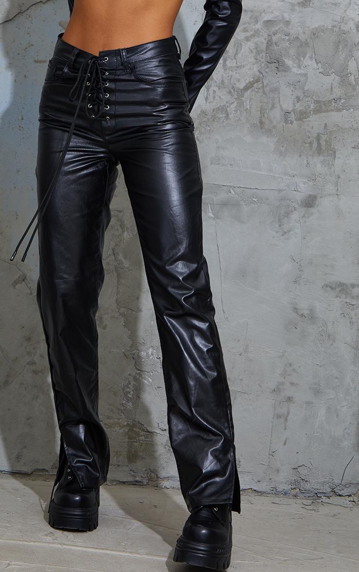 Black Lace Front Coated Split Hem Jeans 2