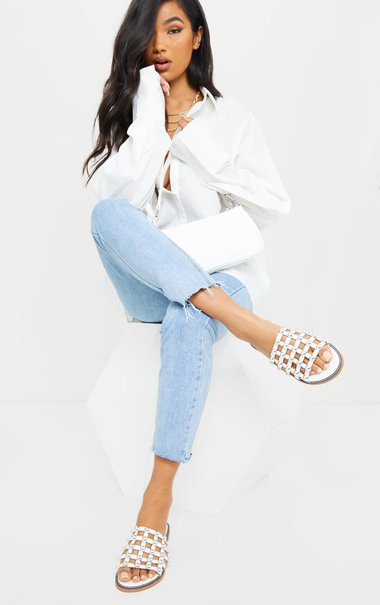 Alisa White Large Studded Sliders 1