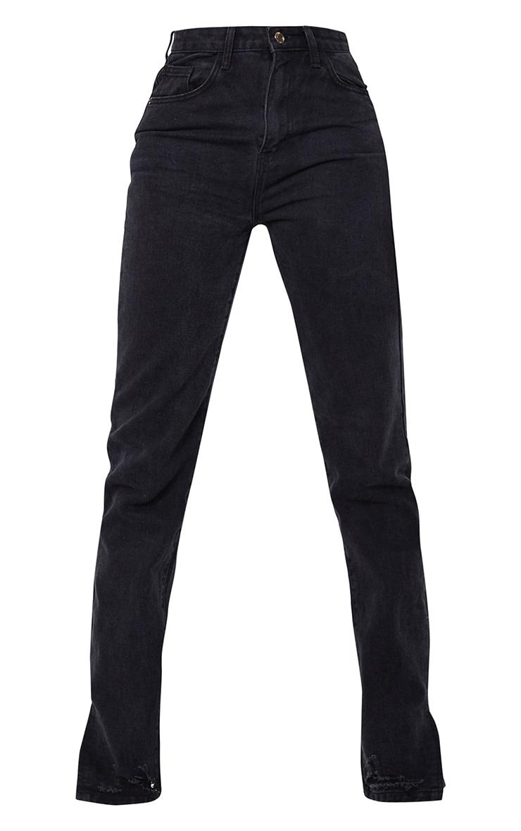 Tall Black Wash Distressed Split Hem Straight Leg Jeans 5