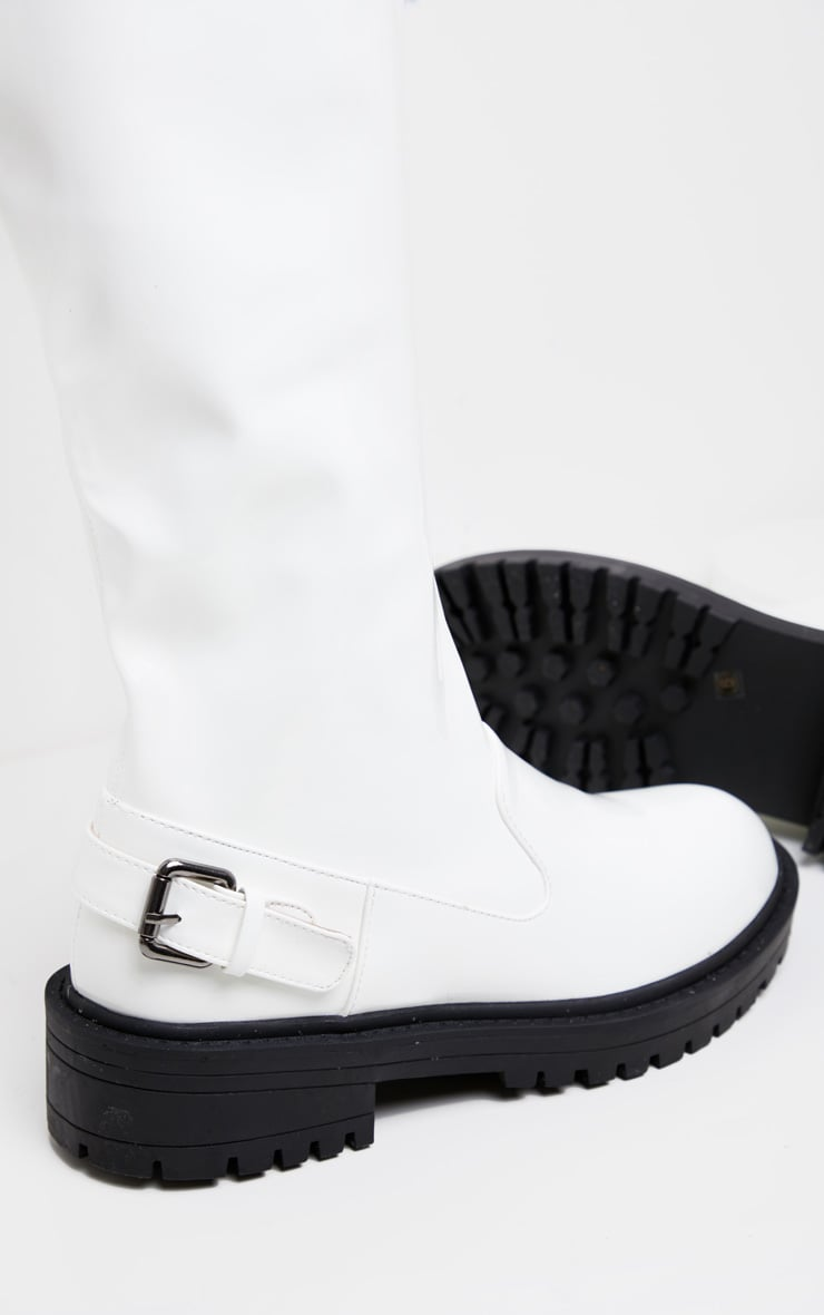 White Cleated Flat Over The Knee Boot 4