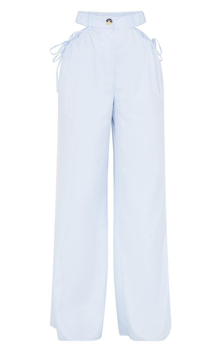 Ice Blue Woven Cut Out Tie Detail Wide Leg Pants 5