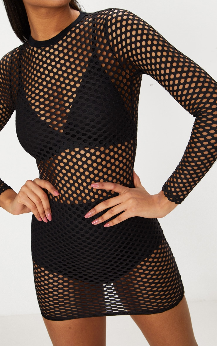 Black Fishnet Mesh Long Sleeved Bodycon Dress 4