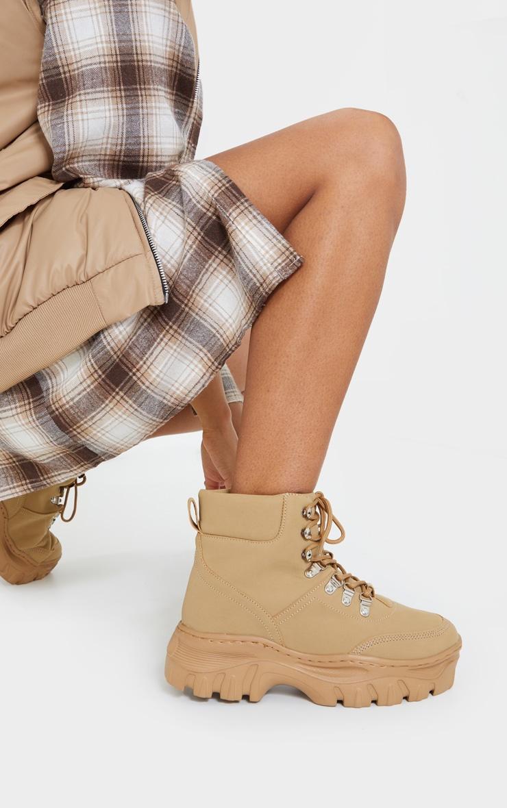 Sand Wide Fit Flatform Chunky Hiker Boots 1