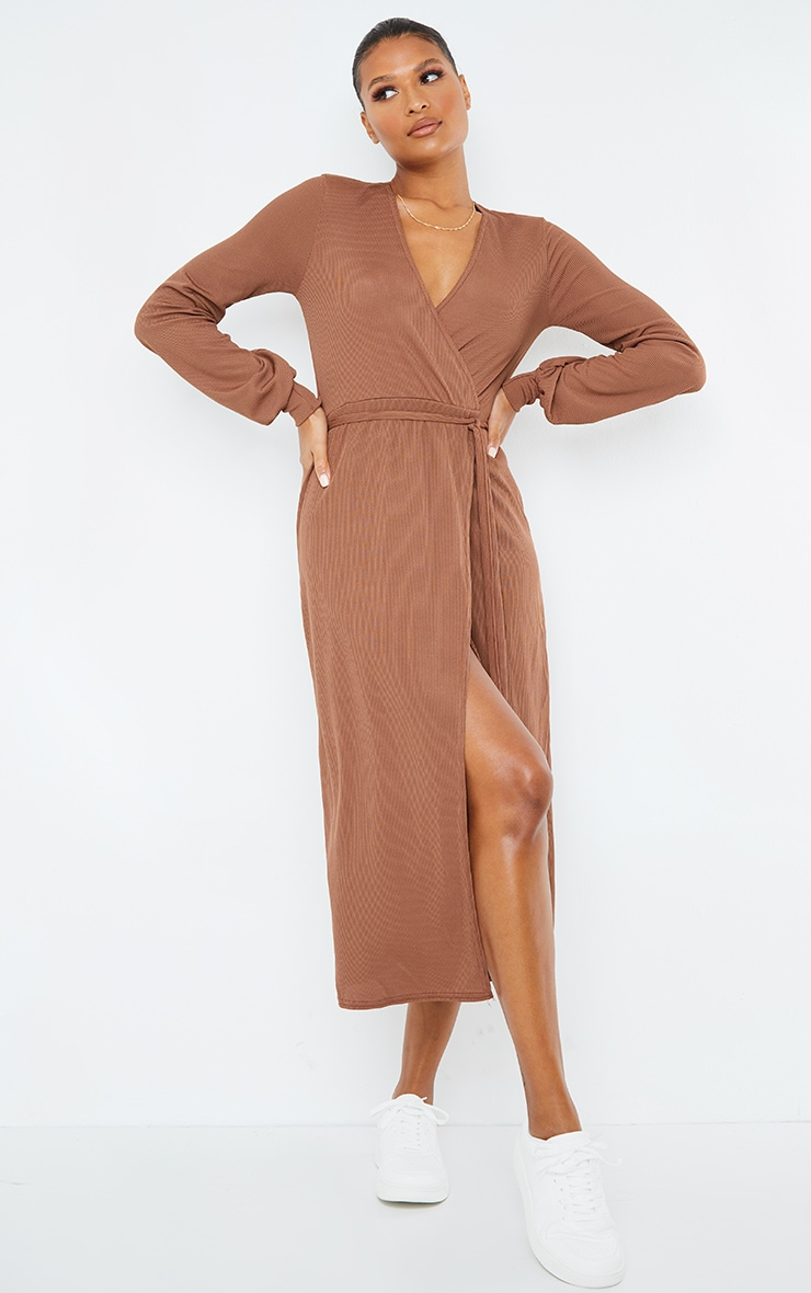 Chocolate Rib Tie Waist Long Sleeve Maxi Dress 1