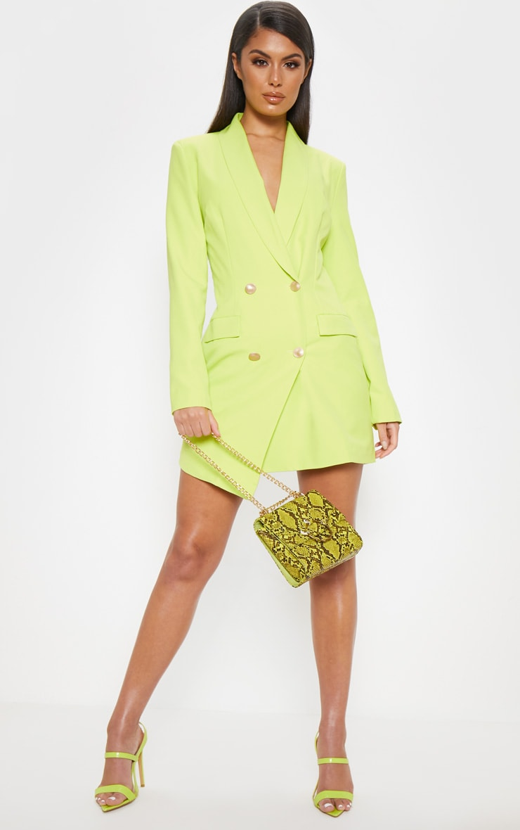 Bright Lime Gold Button Blazer Dress 1