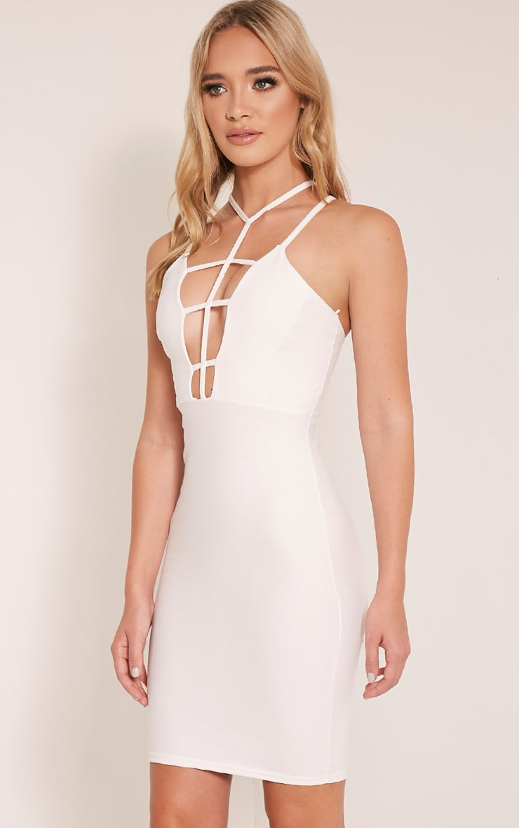 Alessy White Cage Detail Cross Back Bodycon Dress 4