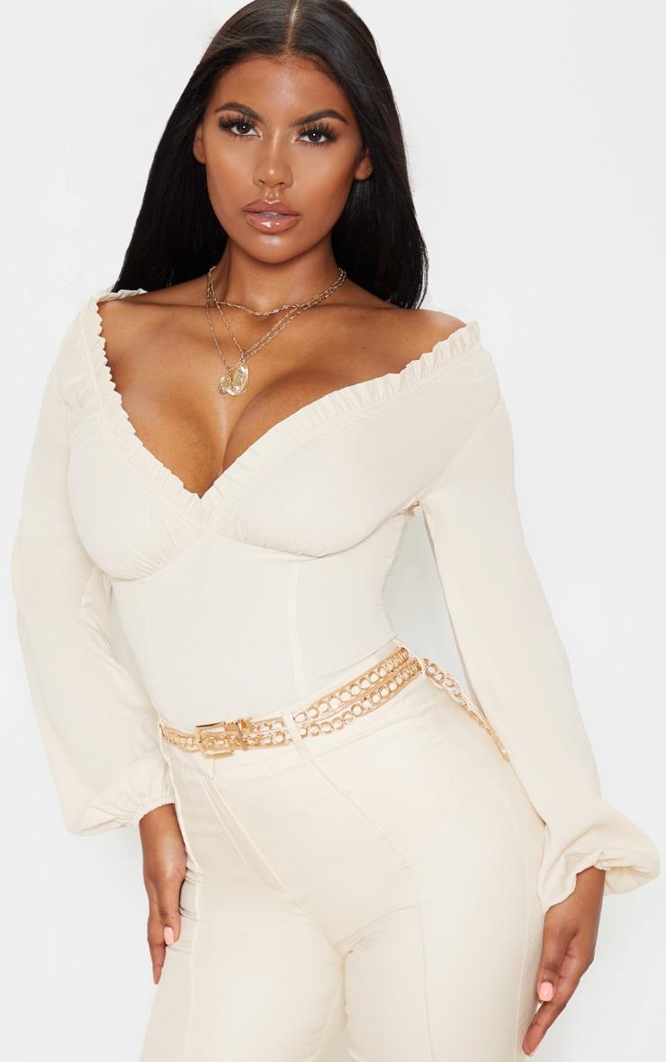 Cream Milkmaid Frill Cup Bodysuit 1