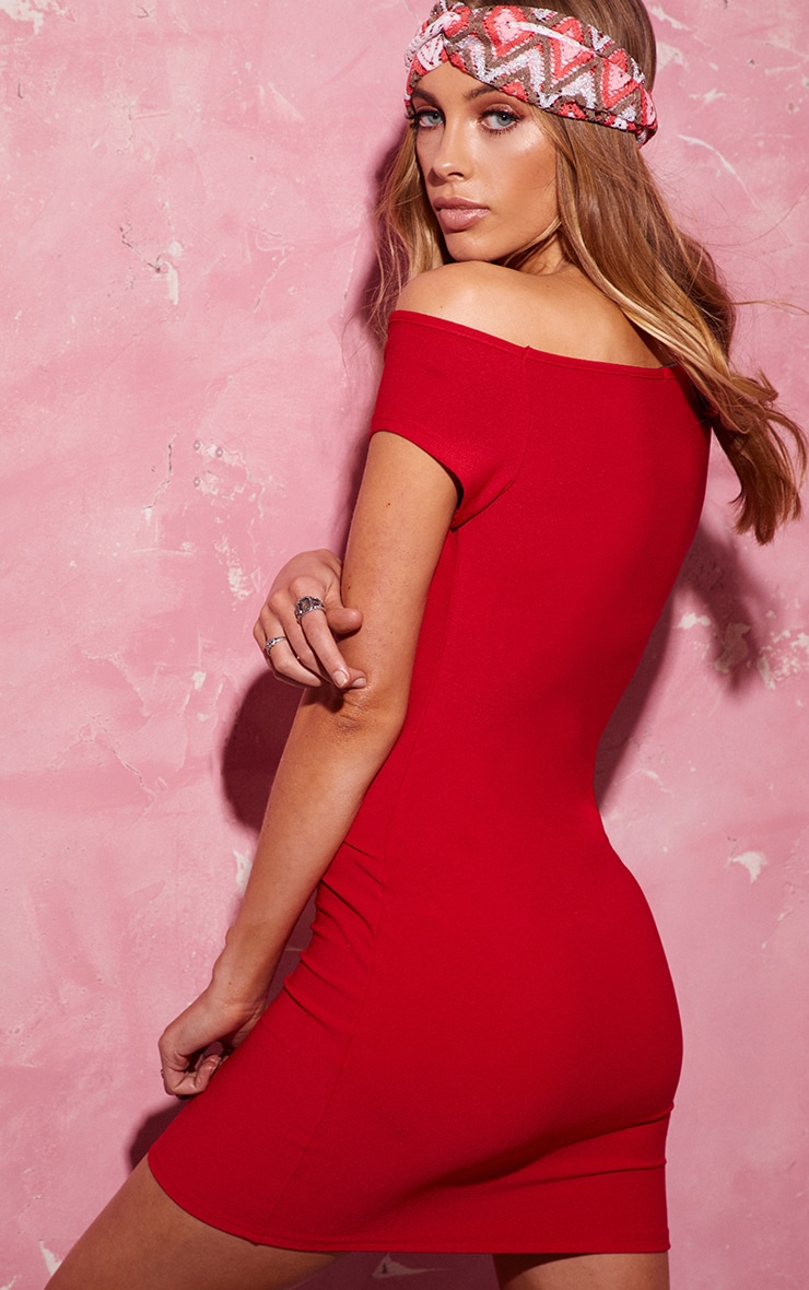 Red Off The Shoulder Bodycon Dress 2