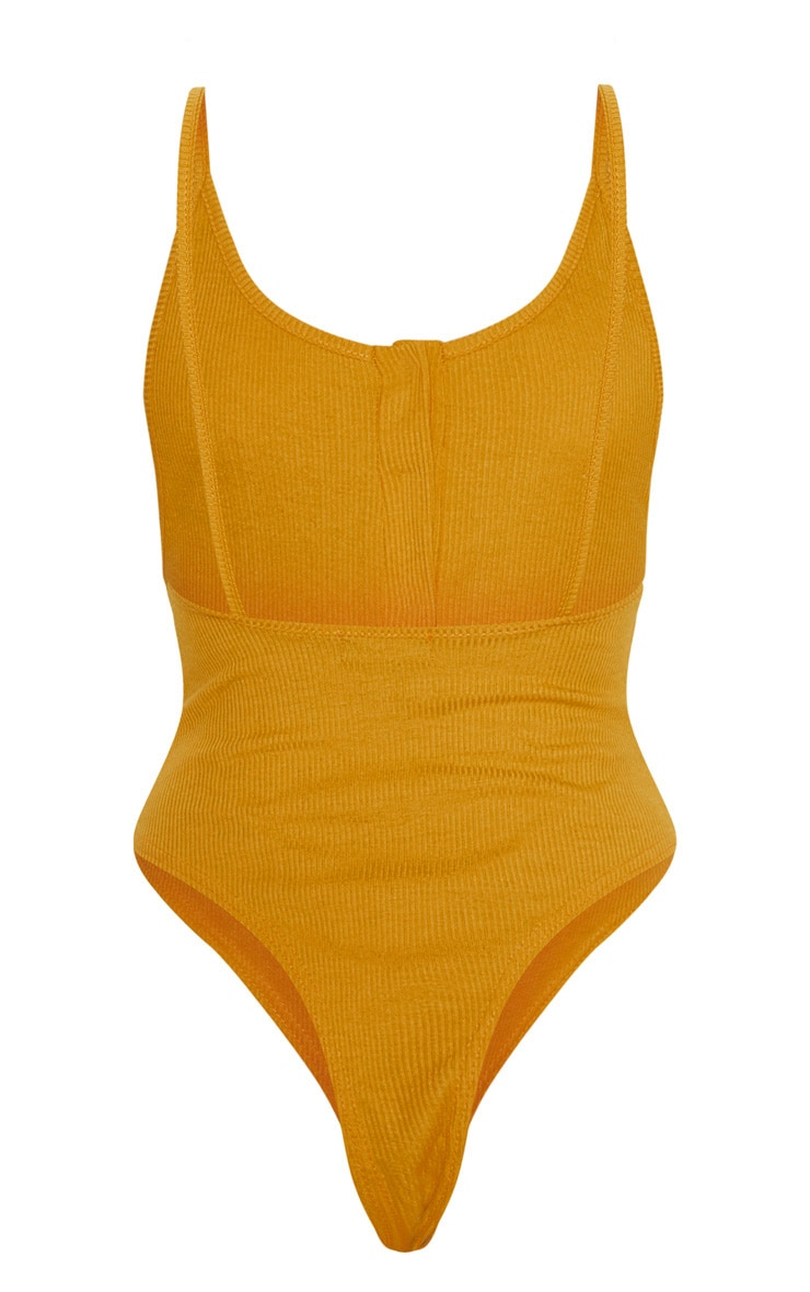 Mustard Popper Front Scoop Back Thong Bodysuit  4