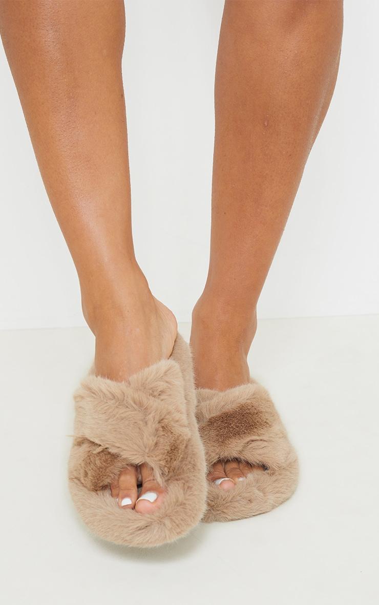Mocha Faux Fur Cross Over Strap Flatform Slides 2
