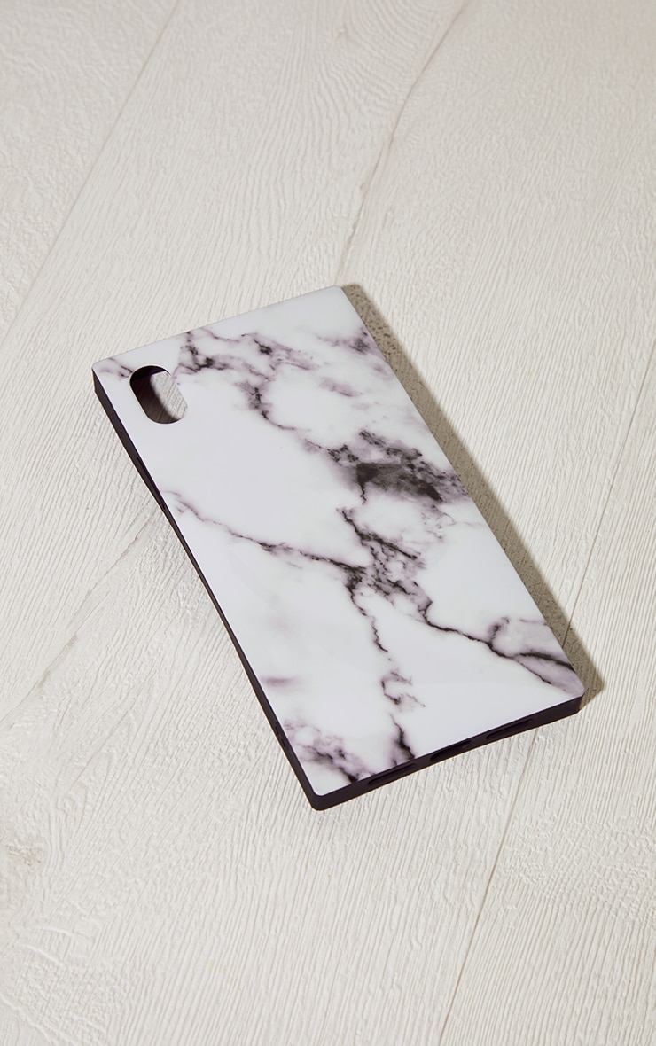 Idecoz White Marble Square Iphone XR Case 1