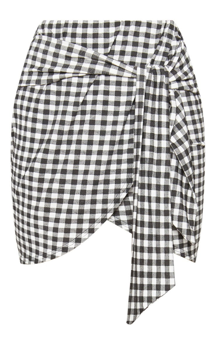 Black Gingham Tie Front Mini Skirt 3